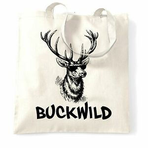 Novelty Christmas Tote Bag Buckwild Cool Reindeer Stylish Sunglasses Winter