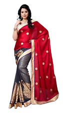 Designer Bollywood Style Party Wear Maroon And Grey Satin & Georgette Saree Sari