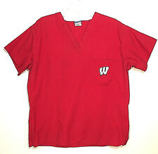 UW Wisconsin Badgers Nursing Scrub Top Unisex Large Red Doctor Medical