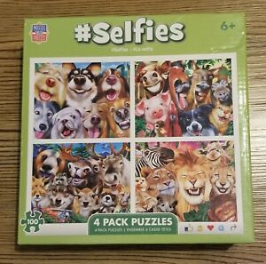 """MasterPieces Selfies Animal Puzzles- 4 Pack 100Pc Assorted 10""""x6"""" Finished Size"""