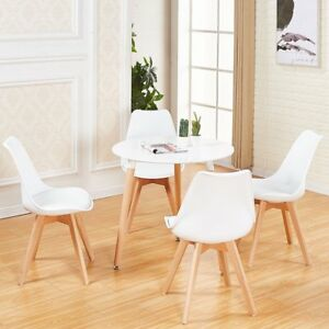 White Round Dining Table and 4 Chairs Set Kitchen Dining Room Retro Solid Wood