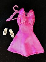 Cute Genuine Tagged Outfit / Purple Barbie Doll Dress with Silver Glitter Shoes