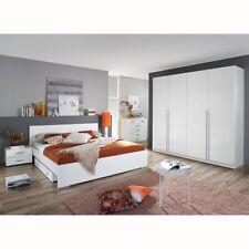 Schlafzimmerset Lorca Bett Nako Kleiderschrank in weiß hochglanz