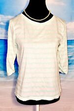 J CREW Womans WHITE Stretch Casual Career MINT GREEN Juniors Shirt Top size S