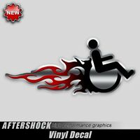 Hot Rod Wheelchair Handicap decal black silver red flames sticker