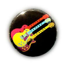 Badge Triple ROCK STAR GUITAR Jaune-Rose/NOIR Punk Pop metal hard pins oldy 25mm