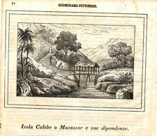 Stampa antica Isola Celebes Sulawesi Indonesia 1839 Old Print