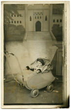 CARTE-PHOTO.ANCIEN LANDAU.BéBé.BABY.OLD PRAM.
