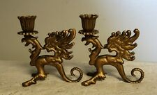 Vintage solid brass winged dragon candle holder Griffin or Phoenix set of 2