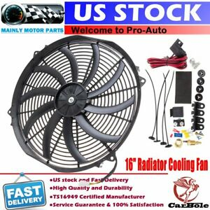 16inch 120w Radiator Cooling Fan Slim Electric Push Pull Assembly Reversible 12V