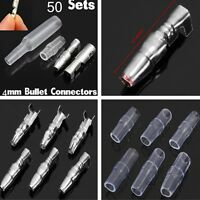 50 Sets 200 PCS 4mm Bullet Terminal Wire Connectors Male Female Socket w/ Sheath