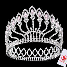 Baroque Crystal Queen Crown Tiara Headband Silver White Stone s Hair Decor