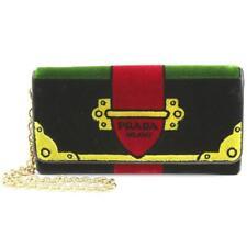 2a12886956d76c PRADA Portafoglio Pattina Cammello Black and Green Velvet RICAMO Wristlet  1MH019