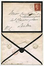 IRELAND QV 1868 MOURNING ENVELOPE PENNY RED Pl.110 + SEAL DEUS DAT INCREMENTUM