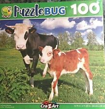 """Greenbriar Puzzlebug 100 pc Baby Calf and Mother l 9"""" x 11"""" puzzle"""