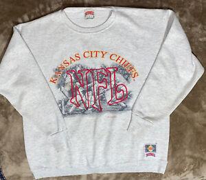 Rare Vintage KC Chiefs Gray Sweatshirt XL Nutmeg Mills 1993 Throwback