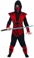 Red & Black Skull Lord Dragon Ninja Boy's Halloween Costume 12-14 Large #R32