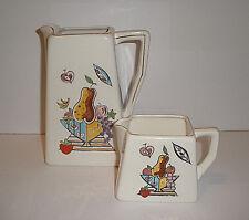 Vintage Tall & Small Pitcher Set HP Fruit Bowl Ceramic Art Studio Signed C