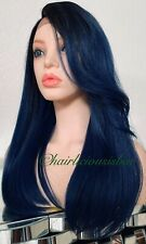 dark blue lace front wig Ombré Dark Roots 20 Inch Long Heat Resistance Ok