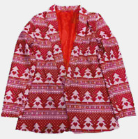 Women's S 4-6 Holiday Ugly Jacket Blazer Christmas Tree Red Heart Light Up NEW