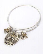 Cross Medallion Charm Wire Bangle Bracelet Quality Fast Ship USA Seller