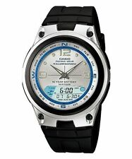 Casio Aw-82-7a Moon Phase Dual Time 50m Fishing Gear Black Resin Men's Watch