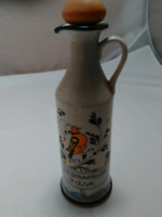 Vintage Porcelain Oil Bottle with Bird and flowers Made in Italy Tuscany