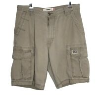 Levis Workwear Mens size 34 Beige Cotton Distressed Pocket Cargo Shorts