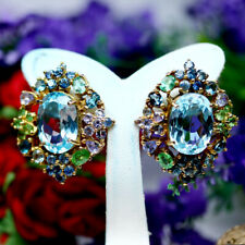 REAL AMETHYST MOTHER OF PEARL CARVED FLOWER PERIDOT DIOPSIDE EARRINGS 925 SILVER