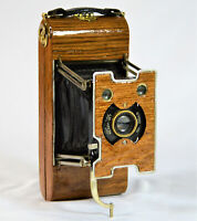 FOLDING CAMERA ANSCO NO. 1 VEST POCKET 101-105 yrs old, ANTIQUE CUSTOM  OAK WOOD