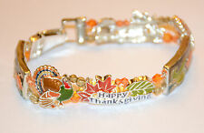 Thanksgiving Tile Bracelet / Magnetic Closure in Silver-tone / Turkey ~ Leaves