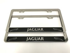 (2) STAINLESS STEEL CHROME Polished Metal License Plate Frame - JAGUAR Rev