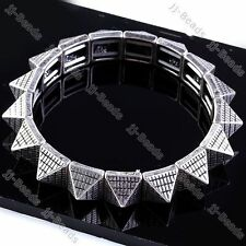 "Silvery Metal Pyramid Rivet Spike Wristband Cuff Stretchy Men Bracelet Bangle 6"""