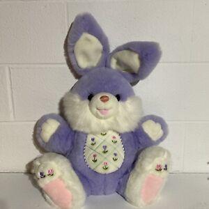 "Dan Dee Hoppy Hopster Large Plush Easter Bunny  Purple Flowers 24"" Rabbit Pastel"