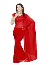 Red Color 6 Yard Saree Plain Sheer Chiffon Fabric Indian Saree For Women C26