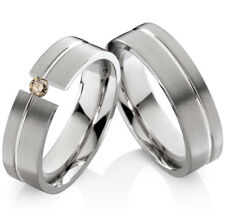 2 Eheringe Trauringe mit echtem Diamant Verlobungsringe aus Edelstahl ELB24