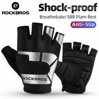 ROCKBROS Cycling Half Finger Gloves Sport SBR Anti-slip Reflective Gloves-Leike