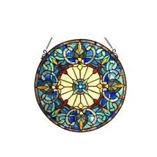 Victorian Design Stained Glass Hanging Window Panel Home Decor Suncatcher 22""