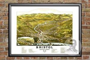 Vintage Bristol, NH Map 1884 - Historic New Hampshire Art - Old Industrial