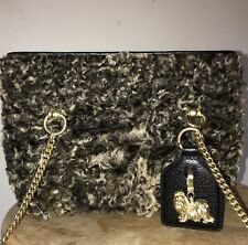 AUTH. BARRY KIESELTEIN CORD MONGOLIAN FUR BAG PURSE $2395 MALTESE MADE IN ITALY