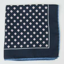 "Eton $65 Navy Blue Lavender Yellow Square Silk Pocket Square 13"" Made in Italy"