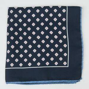 """Eton Navy Blue Lavender Yellow Square Silk Pocket square 13"""" Made in Italy"""