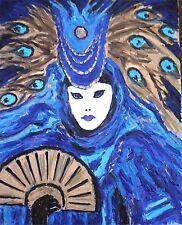Dipinto ad olio originale: VENEZIA CARNEVALE Figura IN BLU E ORO