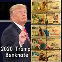 5 Stücke Donald Trump $2020 Vergoldet Banknote Behalten Amerika Toll Dollar