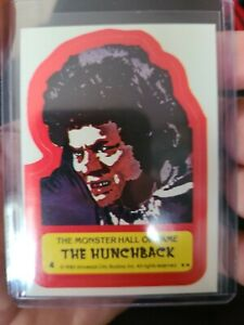 """VINTAGE 1980's TOPPS MONSTER HALL OF FAME STICKER / DECAL ( """"THE HUNCHBACK """") #4"""