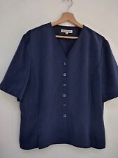 Ladies Lovely Windsmoor Blue Hip Length Smart Button V Neck Blouse Size 16, Vgc