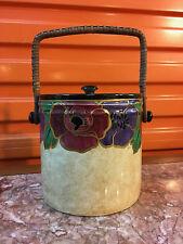 "Vintage English Art Deco Regal Ware Hand Painted ""Poppy"" Biscuit Barrel"