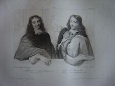 Grande gravure Portraits Jules Hardouin MANSART et Claude PERRAULT Architectes