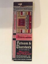 1950s Worcester Mass PUTNAM & THURSTON'S Restaurant Nightclub Matchcover Vintage