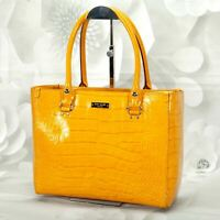 Kate Spade Women's Satchel Handbag Medium Patent Leather Snake Yellow Gold